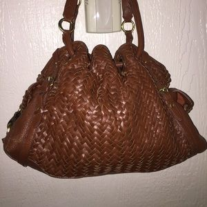 COLE HAAN WEAVE LEATHER BAG