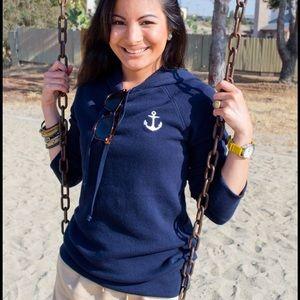 J Crew Navy Anchor Hoodie