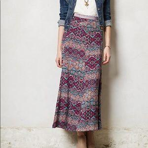Vanessa Virginia Anthropologie Printed Maxi Skirt