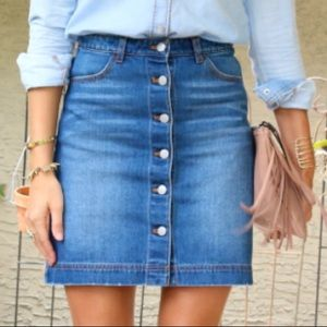 Button-up denim skirt with distressed details!