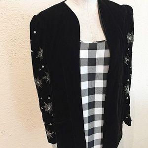 Vintage Black Velvet Star Beaded Blazer Jacket