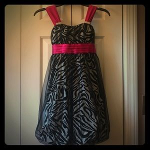 Other - Girls Semiformal Zebra w/ hot pink Dress