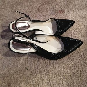 Calvin Klein black textured shiny sling back heels