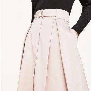 Zara sateen skirt with box pleats