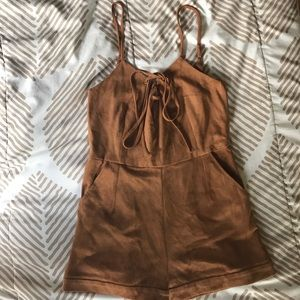 Suede romper with pockets