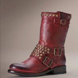 Frye Jenna Short Studded Burnt Red leather boots