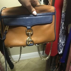 Rebecca Minkoff tan and navy crossbody