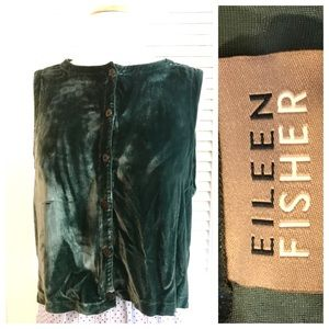 Vintage Eileen Fisher Silk/Velvet Vest, Small