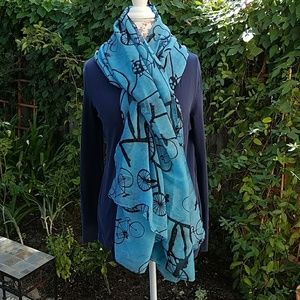Accessories - Blue scarf with bicycles