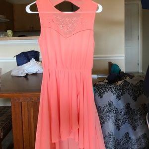 Peach Hi-Low Dress with Criss Cross Back