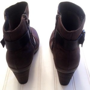 7d4c3115c09f5 Clarks Shoes | Artisan Brown Leather Wrap Ankle Boots | Poshmark