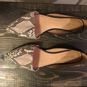 Madewell D'Orsay Pointed Flats in Black/Snakeskin