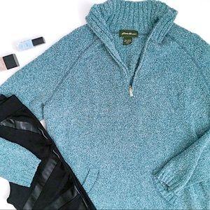 Eddie Bauer zip neck kangaroo pouch sweater