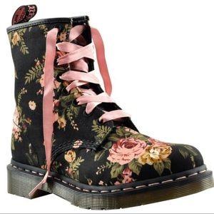 Dr.. Martens 1460 Floral Canvas Boots w Pink Laces