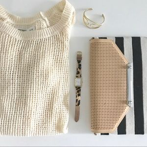 Old Navy cream knit mesh sweater small med