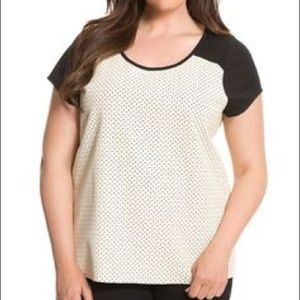 Black and cream faux leather top