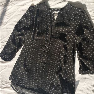 H&M Black Patterned Sheer Blouse, Size 8 (M), NWT