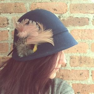 Anthropologie cloche with feathers