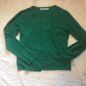 Emerald green puff sleeve cardigan