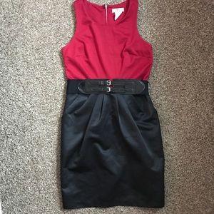 As U Wish Red and Black Pencil Dress