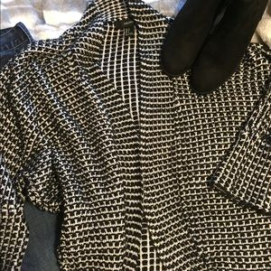 Forever 21 Black and White Open Dolman Cardigan; S