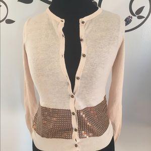 🆕EUC Ann Taylor LOFT Cream Cardigan w/ Sequins XS