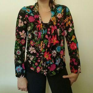 Anthropologie Tops - Anthropologie Colorful Flower shirt, wear 2 ways!