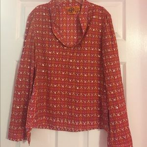 Tory Burch Gold Red Sequin Tunic Top 2