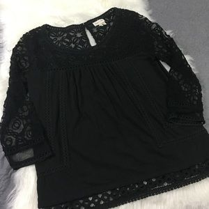 Anthro Meadow Rue Black Lace Sheer Peasant Top