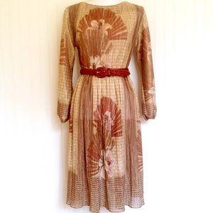 Vintage glam 70s floral gold long sleeve dress