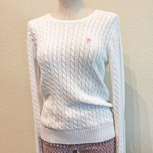 Lilly Pulitzer White Cable Knit Palm Tree Sweater
