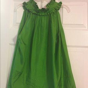 Jcrew Green Silk Buttoned Ruffle Halter Top