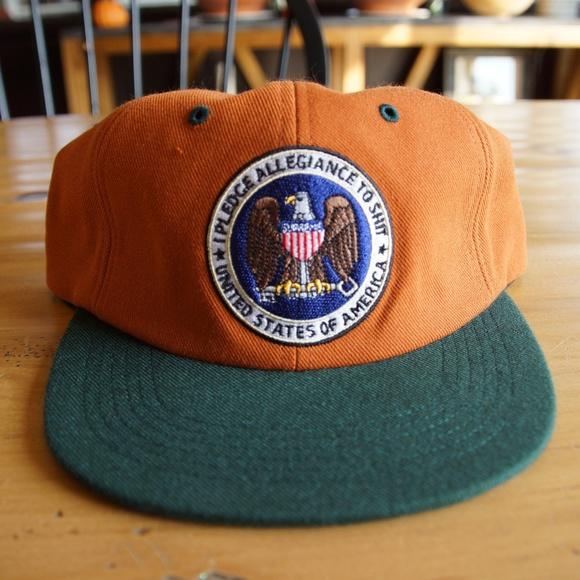 Supreme Six Panel Hat In Orange Green I Pledge