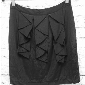 Odille Anthropologie Skirt Black Ruffle skirt 0