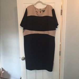 Simply Be navy and cream career dress