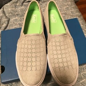new Keds double decker perforated grey slip ons