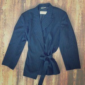 MAX MARA Black Wool Pinstripe Skirt Suit
