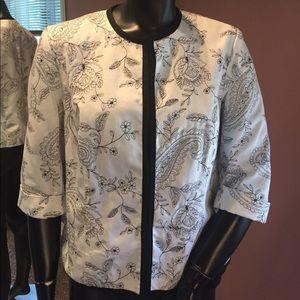 Carole Little Black & White 3/4 Sleeve Jacket