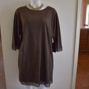 ZARA Olive Green Faux Suede Tunic Dress Sz L NWT