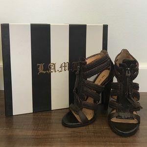 LAMB gladiator snake skin front zip heels