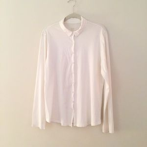 Eileen Fisher white knit organic cotton top M