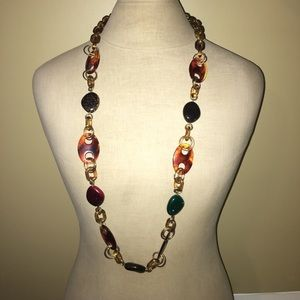 """Tortoise Shell Long Necklace 18"""""""