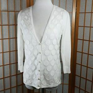 New York and Company, white polka dot cardigan
