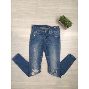 Zara Medium Rise Slim Fit Distressed Skinny Jeans