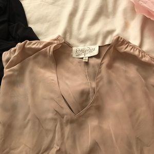 Rory Beca nude tan silk short sleeve top