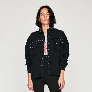 Black studded Zara jacket with snaps. Small