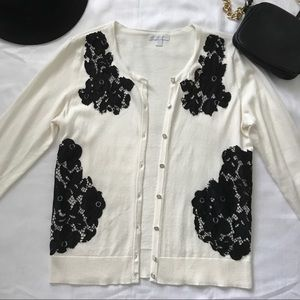 Cream Cardigan with Black Lace Detail
