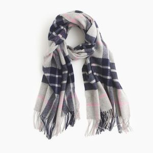 NEW! J.Crew Large Plaid Scarf in Blue Wool