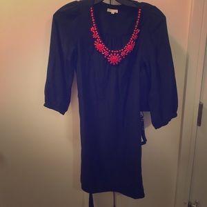 Shoshanna Navy Blue Tunic Dress with Tie Waist