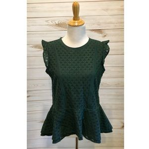 NWT Banana Republic Emerald Crochet Peplum Tank